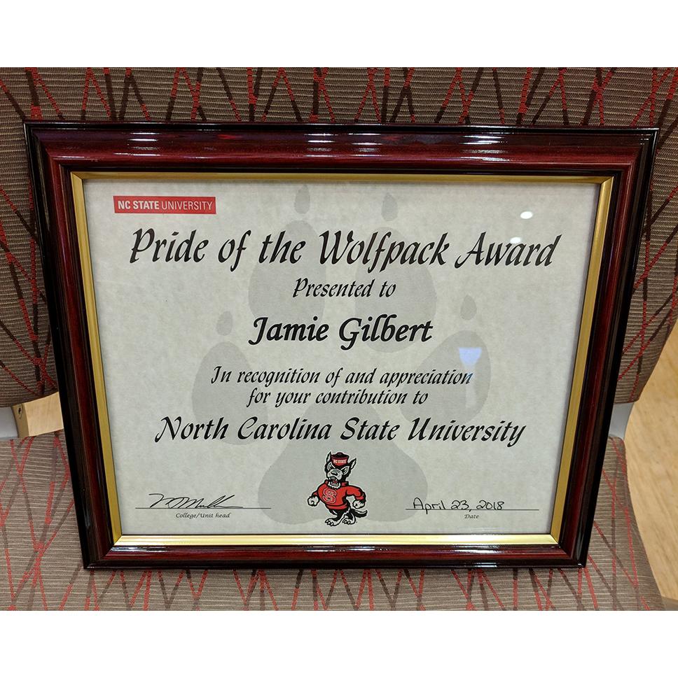 Pride of the Wolfpack certificate