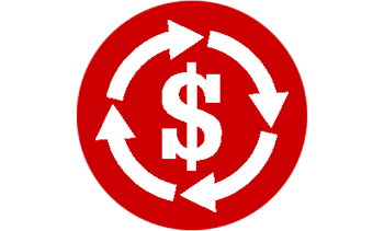 Red circle with white dollar sign with arrows around it
