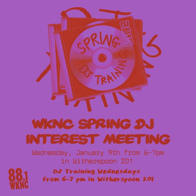 WKNC DJ interest meeting Jan. 9 at 6 p.m.